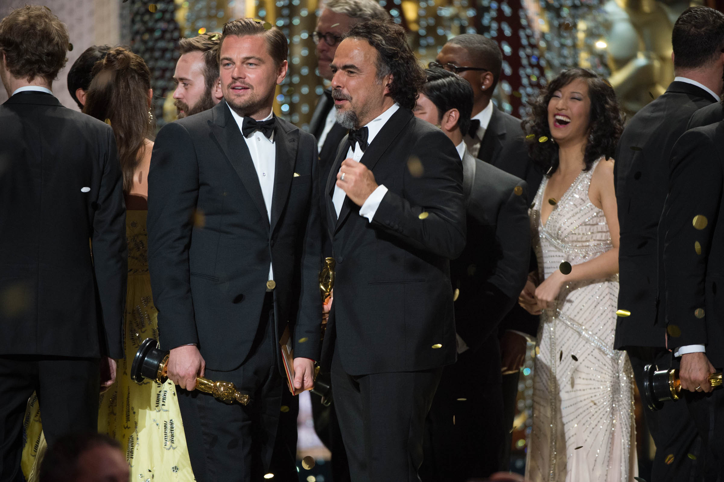 "Leonardo DiCaprio, Oscar®-winner for Performance by an actor in a Leading role, for work on ""The Revenant"" and  Alejandro G. Iñárritu, Oscar®-winner for Achievement in directing, for work on ""The Revenant"" celebrate onstage during the live ABC Telecast of The 88th Oscars® at the Dolby® Theatre in Hollywood, CA on Sunday, February 28, 2016. Photo Credit: Aaron Poole / ©A.M.P.A.S."