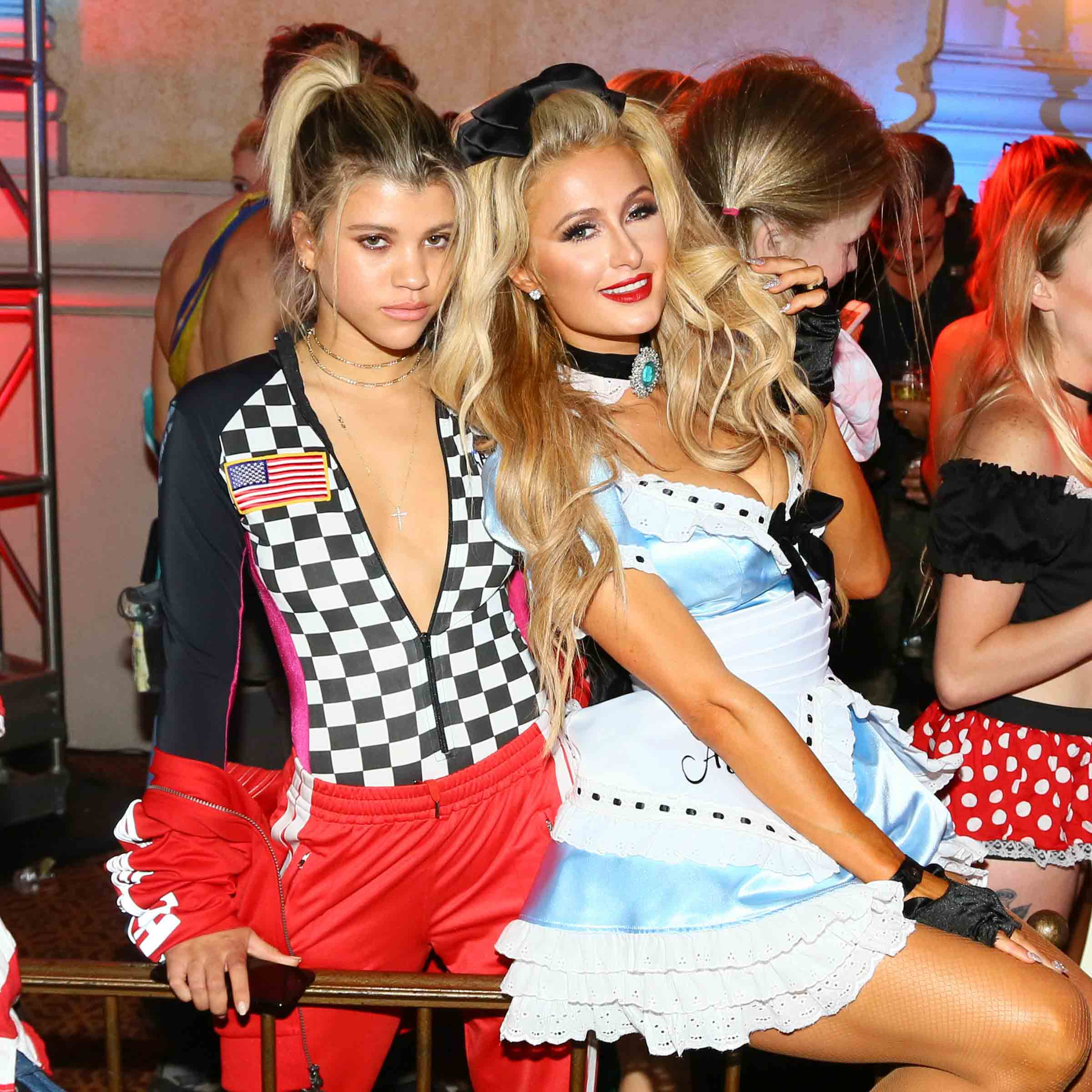 LOS ANGELES, CA - OCTOBER 29:  Paris Hilton (R) and Sofia Richie attend Trick or treats! - The 6th Annual treats! Magazine Halloween Party Sponsored by Absolut Elyx on October 29, 2016 in Los Angeles, California.  (Photo by Gabriel Olsen/WireImage)